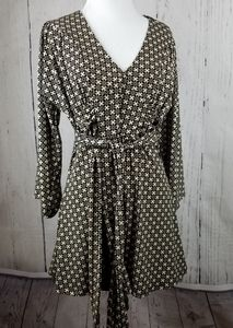 New Directions Brown Geometric Tunic/Dress Sz Med
